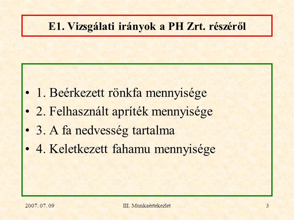 2007. 07. 09III. Munkaértekezlet3 E1. Vizsgálati irányok a PH Zrt. részéről 1. Beérkezett rönkfa mennyisége 2. Felhasznált apríték mennyisége 3. A fa