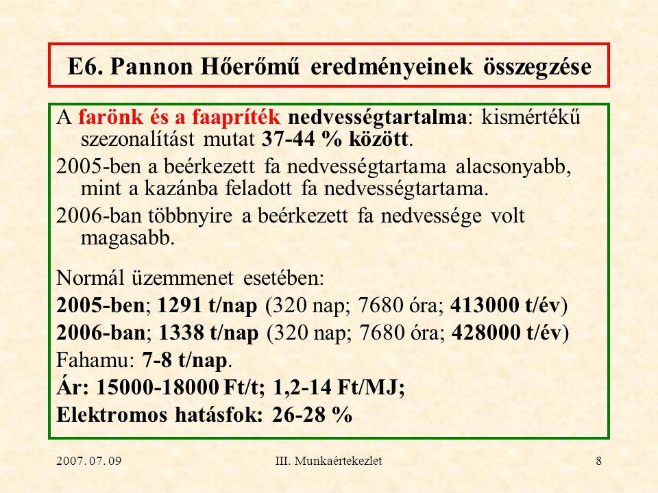 2007. 07. 09III. Munkaértekezlet8 E6. Pannon Hőerőmű eredményeinek összegzése A farönk és a faapríték nedvességtartalma: kismértékű szezonalítást muta