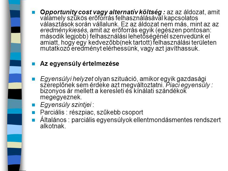 Opportunity cost vagy alternatív költség : az az áldozat, amit valamely szűkös erőforrás felhasználásával kapcsolatos választások során vállalunk.