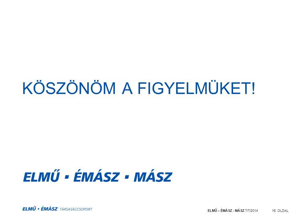 ELMŰ – ÉMÁSZ - MÁSZ 7/7/201416. OLDAL KÖSZÖNÖM A FIGYELMÜKET!