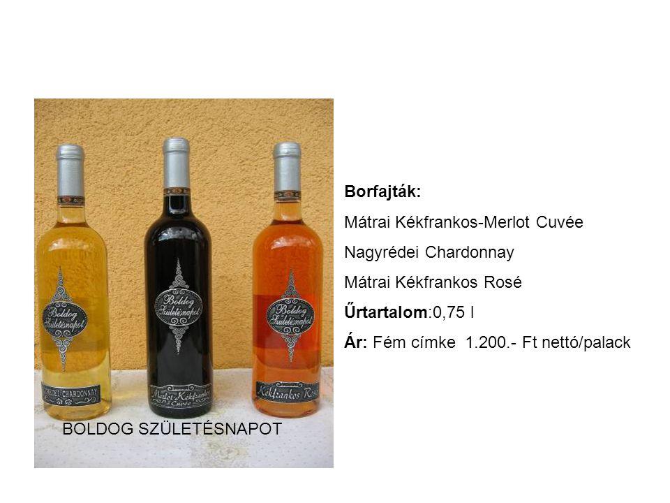 Borfajták: Mátrai Kékfrankos-Merlot Cuvée Nagyrédei Chardonnay Mátrai Kékfrankos Rosé Űrtartalom:0,75 l Ár: Fém címke 1.200.- Ft nettó/palack BOLDOG S