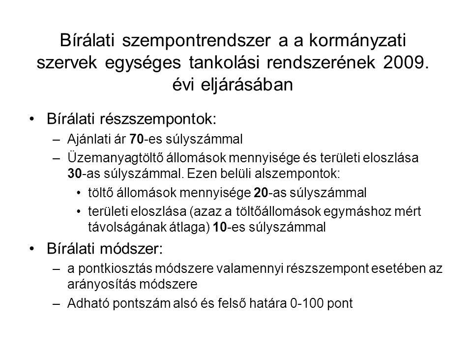 Bírálati szempontrendszer a a kormányzati szervek egységes tankolási rendszerének 2009. évi eljárásában Bírálati részszempontok: –Ajánlati ár 70-es sú