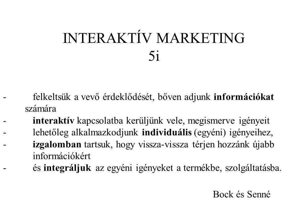 INTERAKTÍV MARKETING 5i - felkeltsük a vevő érdeklődését, bőven adjunk információkat számára - interaktív kapcsolatba kerüljünk vele, megismerve igényeit - lehetőleg alkalmazkodjunk individuális (egyéni) igényeihez, - izgalomban tartsuk, hogy vissza-vissza térjen hozzánk újabb információkért - és integráljuk az egyéni igényeket a termékbe, szolgáltatásba.