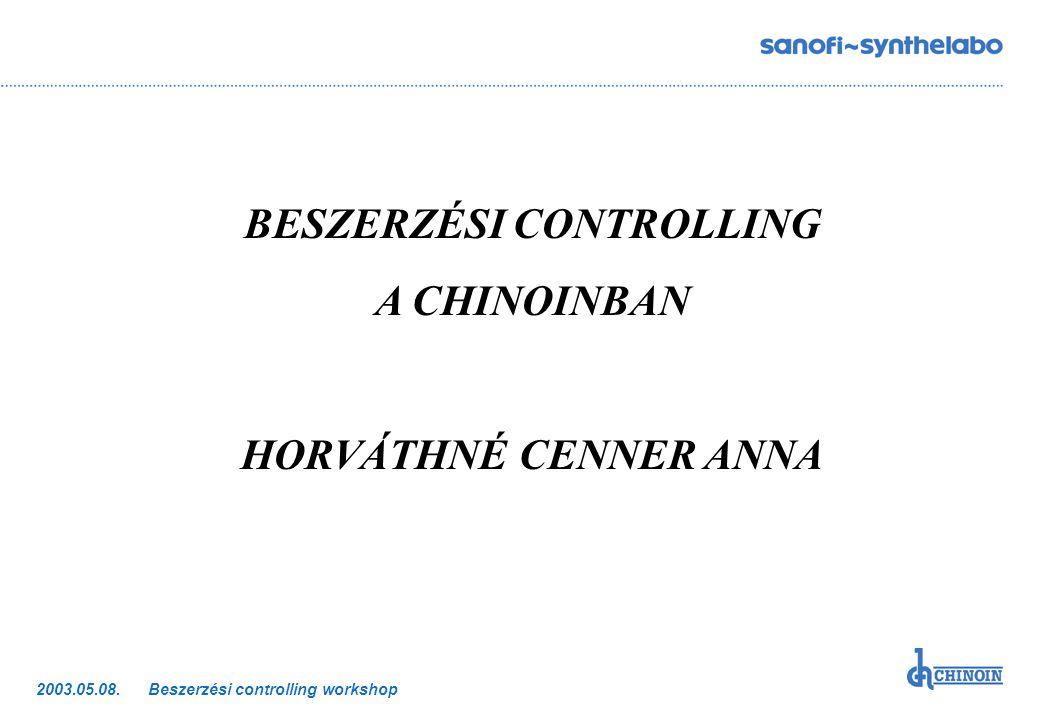 Beszerzési controlling workshop2003.05.08. BESZERZÉSI CONTROLLING A CHINOINBAN HORVÁTHNÉ CENNER ANNA