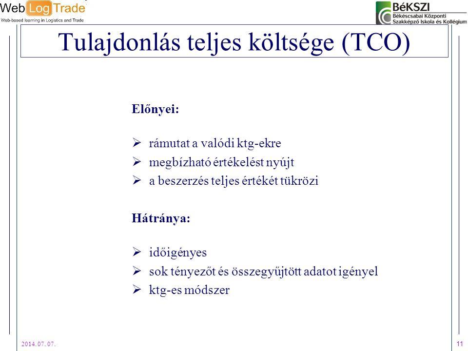 2014. 07. 07. 11 Tulajdonlás teljes költsége (TCO) Előnyei:  rámutat a valódi ktg-ekre  megbízható értékelést nyújt  a beszerzés teljes értékét tük