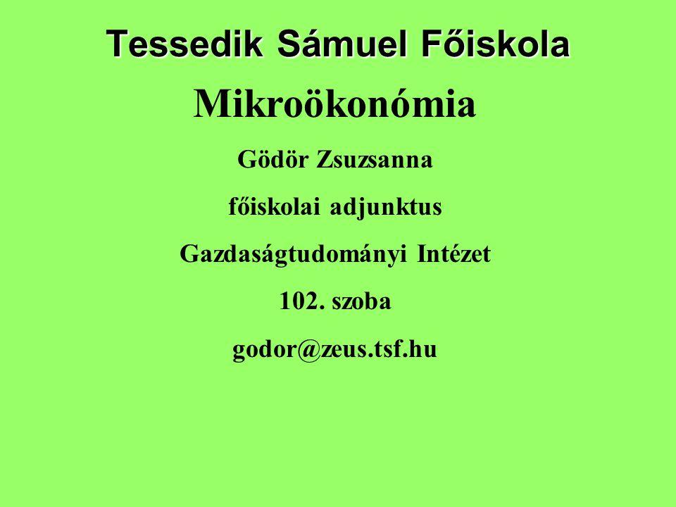 Tessedik Sámuel Főiskola Mikroökonómia Gödör Zsuzsanna főiskolai adjunktus Gazdaságtudományi Intézet 102. szoba godor@zeus.tsf.hu