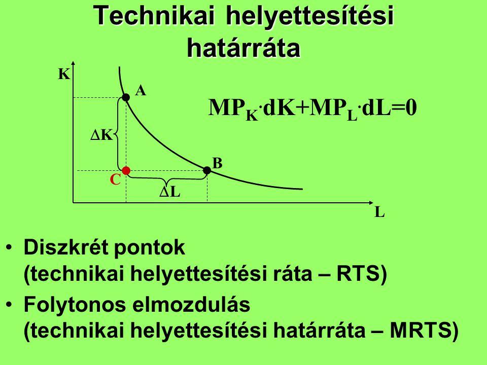 Technikai helyettesítési határráta Diszkrét pontok (technikai helyettesítési ráta – RTS) Folytonos elmozdulás (technikai helyettesítési határráta – MR