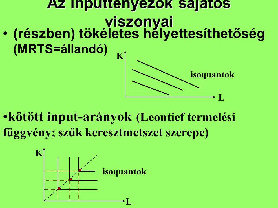 Az inputtényezők sajátos viszonyai (részben) tökéletes helyettesíthetőség (MRTS=állandó) K L isoquantok K L kötött input-arányok (Leontief termelési f