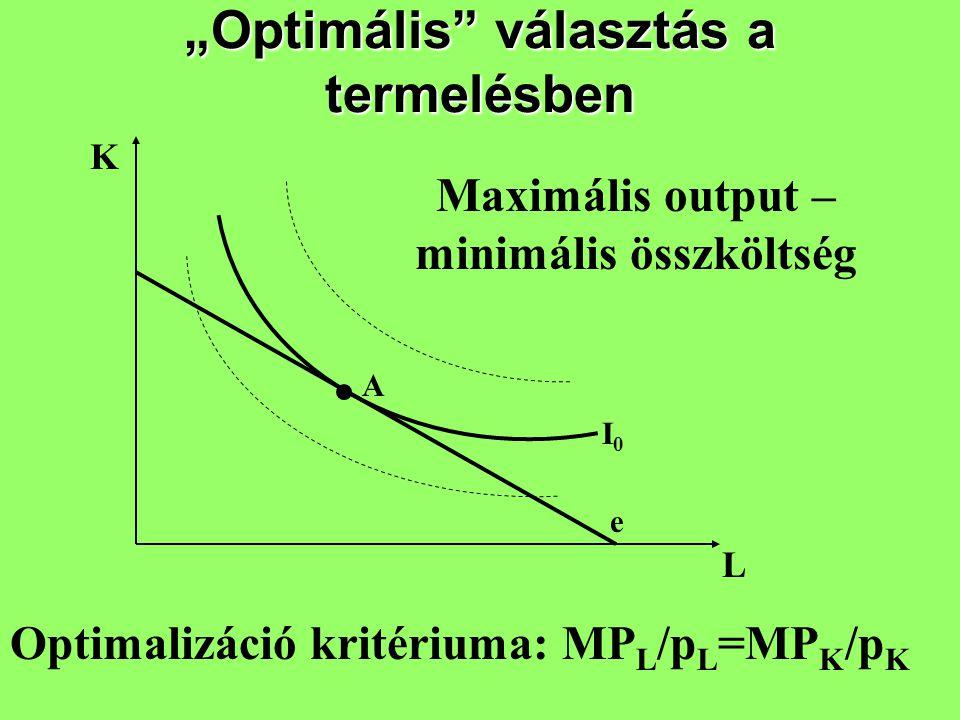 """""""Optimális"""" választás a termelésben K L A e I0I0 Optimalizáció kritériuma: MP L /p L =MP K /p K Maximális output – minimális összköltség"""