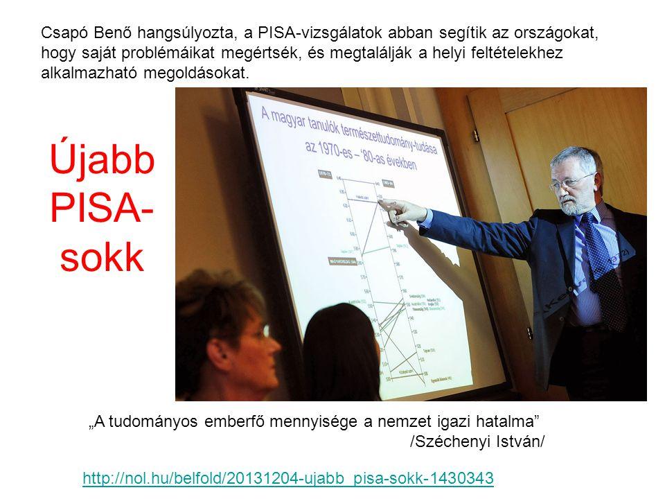 Csapó Benő hangsúlyozta, a PISA-vizsgálatok abban segítik az országokat, hogy saját problémáikat megértsék, és megtalálják a helyi feltételekhez alkal