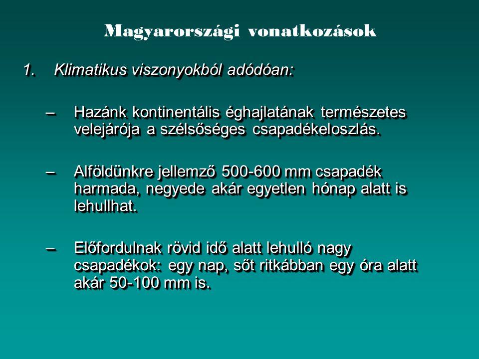 Magyarországi vonatkozások 1.Klimatikus viszonyokból adódóan: –Hazánk kontinentális éghajlatának természetes velejárója a szélsőséges csapadékeloszlás