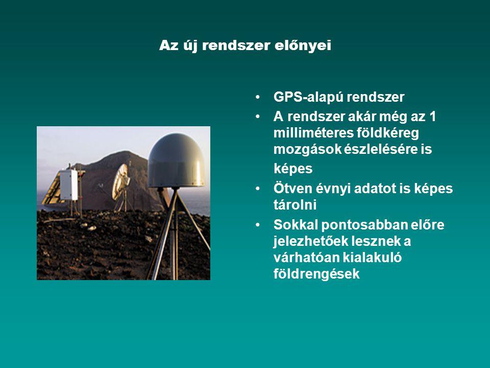 Az új rendszer előnyei GPS-alapú rendszer A rendszer akár még az 1 milliméteres földkéreg mozgások észlelésére is képes Ötven évnyi adatot is képes tá