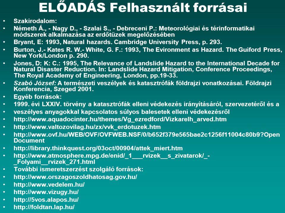 ELŐADÁS Felhasznált forrásai Szakirodalom: Németh Á., - Nagy D., - Szalai S., - Debreceni P.: Meteorológiai és térinformatikai módszerek alkalmazása a