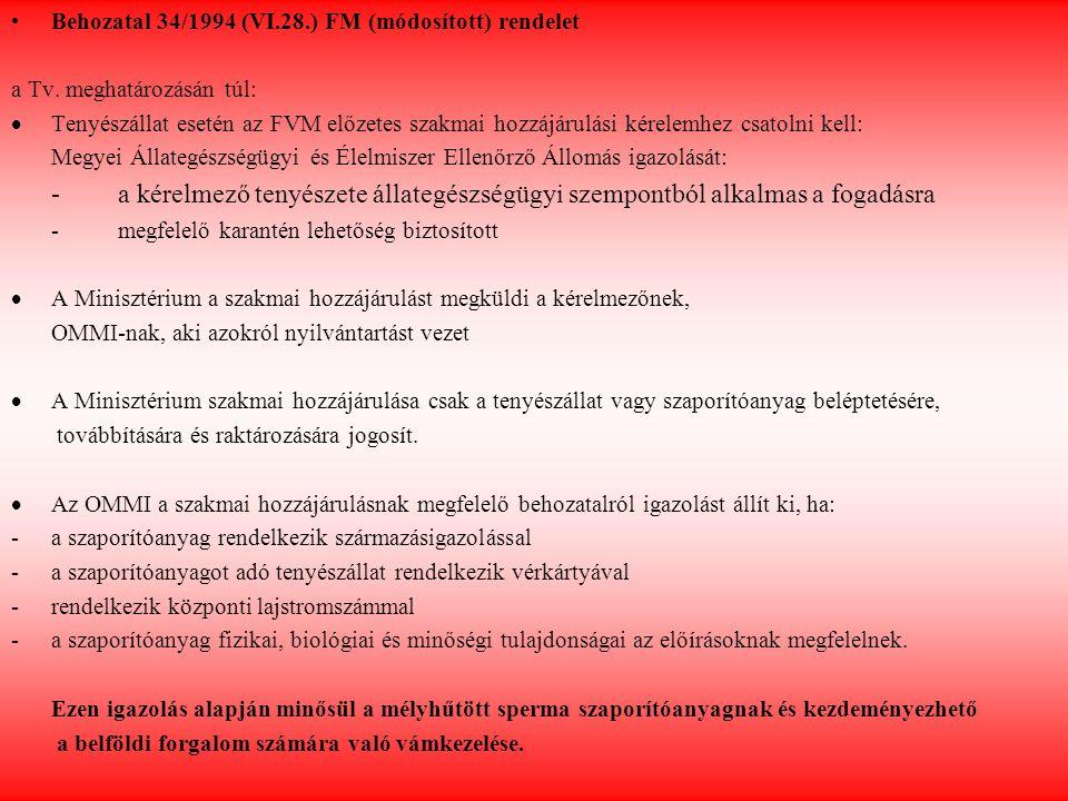 Behozatal 34/1994 (VI.28.) FM (módosított) rendelet a Tv. meghatározásán túl:  Tenyészállat esetén az FVM előzetes szakmai hozzájárulási kérelemhez c