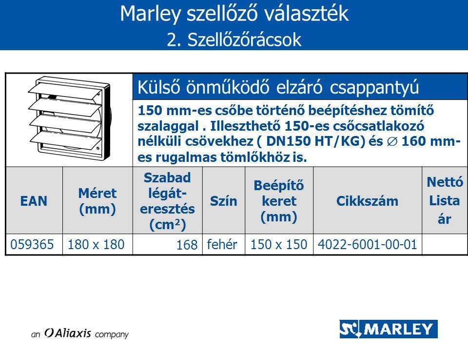 Marley szellőző választék 2. Szellőzőrácsok Külső önműködő elzáró csappantyú 150 mm-es csőbe történő beépítéshez tömítő szalaggal. Illeszthető 150-es