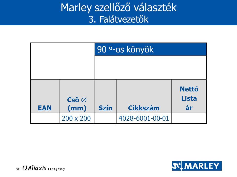 90 o -os könyök EAN Cső  (mm)SzínCikkszám Nettó Lista ár 200 x 2004028-6001-00-01 Marley szellőző választék 3. Falátvezetők