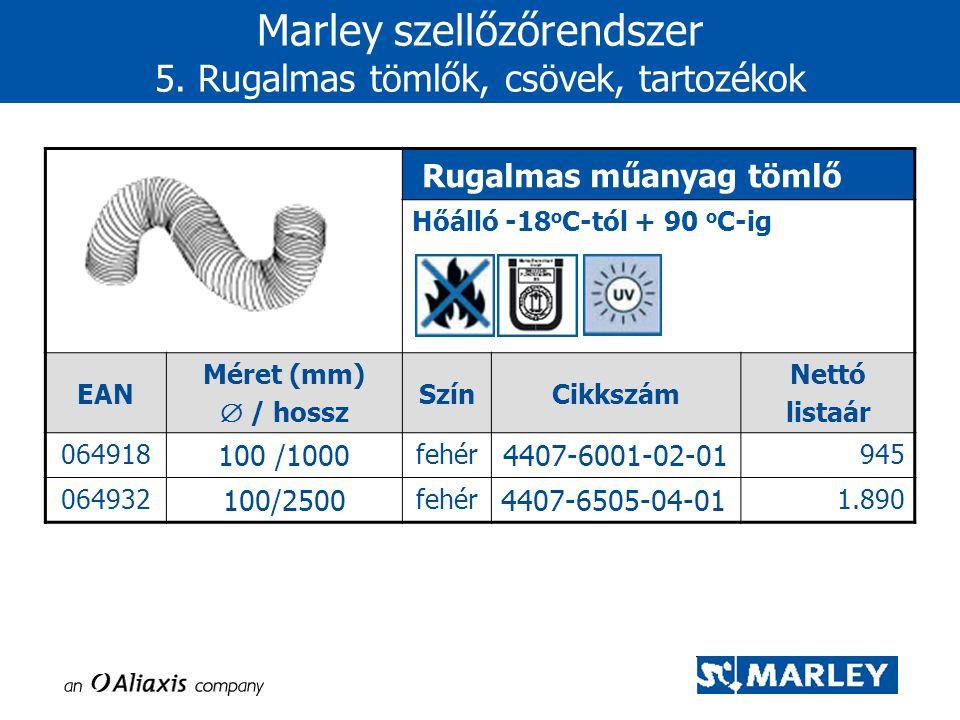 Marley szellőzőrendszer 5. Rugalmas tömlők, csövek, tartozékok Rugalmas műanyag tömlő Hőálló -18 o C-tól + 90 o C-ig EAN Méret (mm)  / hossz SzínCikk