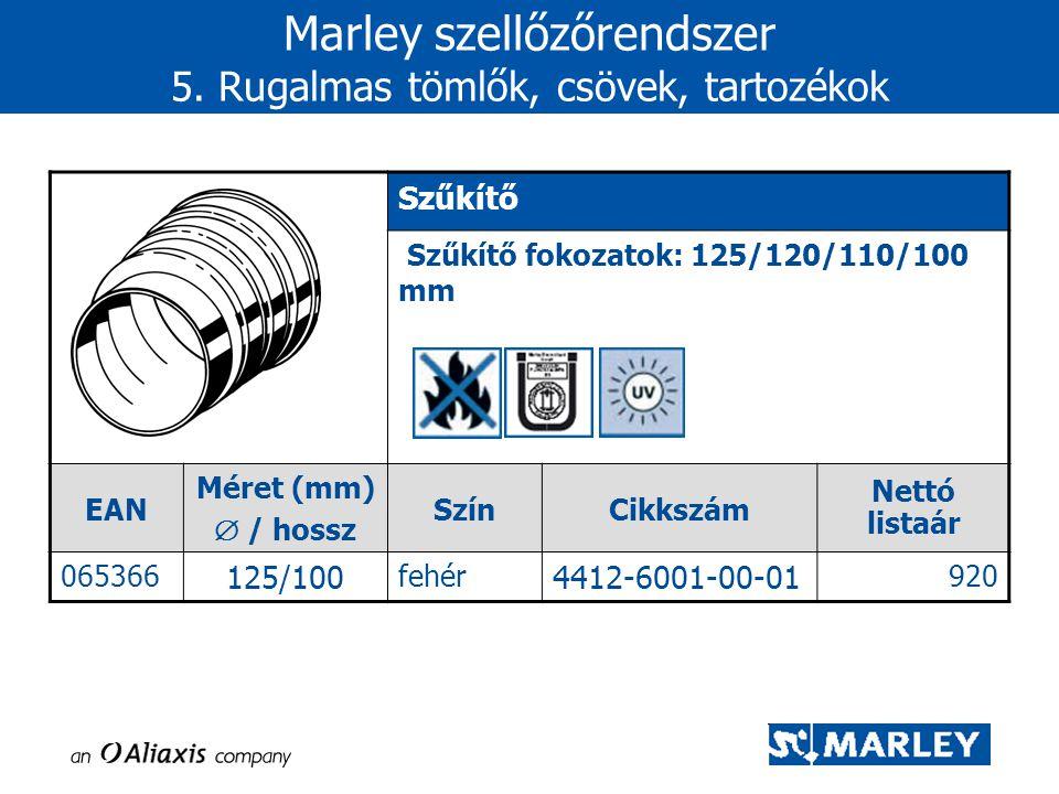 Szűkítő Szűkítő fokozatok: 125/120/110/100 mm EAN Méret (mm)  / hossz SzínCikkszám Nettó listaár 065366 125/100 fehér 4412-6001-00-01 920 Marley szel