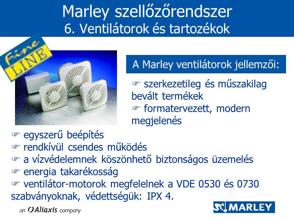  szerkezetileg és műszakilag bevált termékek  formatervezett, modern megjelenés Marley szellőzőrendszer 6. Ventilátorok és tartozékok A Marley venti