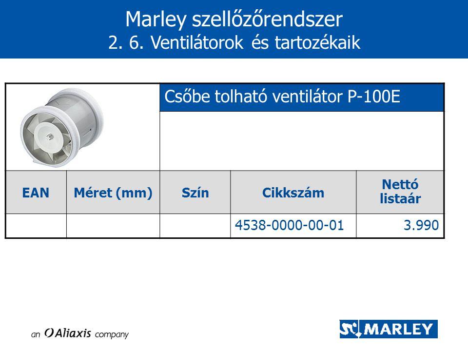 Marley szellőzőrendszer 2. 6. Ventilátorok és tartozékaik Csőbe tolható ventilátor P-100E EANMéret (mm)SzínCikkszám Nettó listaár 4538-0000-00-013.990