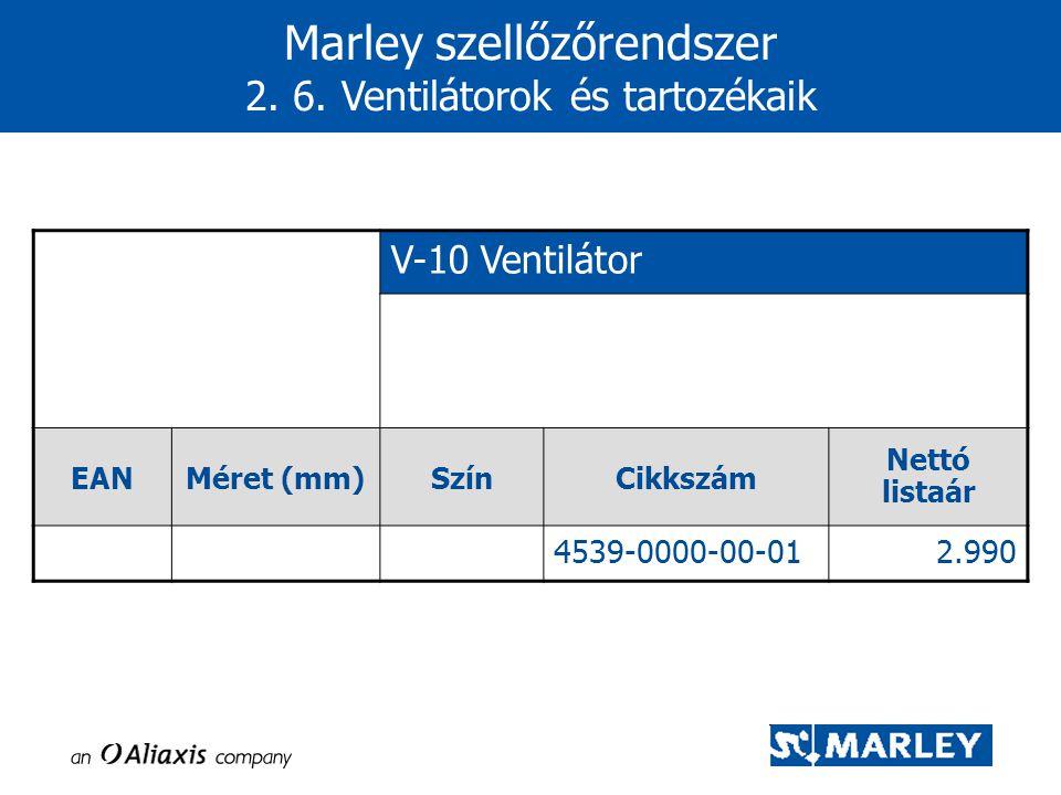 Marley szellőzőrendszer 2. 6. Ventilátorok és tartozékaik V-10 Ventilátor EANMéret (mm)SzínCikkszám Nettó listaár 4539-0000-00-012.990