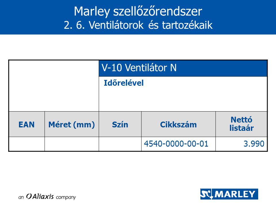 Marley szellőzőrendszer 2. 6. Ventilátorok és tartozékaik V-10 Ventilátor N Időrelével EANMéret (mm)SzínCikkszám Nettó listaár 4540-0000-00-013.990