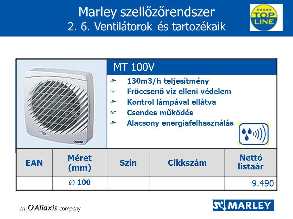 Marley szellőzőrendszer 2. 6. Ventilátorok és tartozékaik MT 100V  130m3/h teljesítmény  Fröccsenő víz elleni védelem  Kontrol lámpával ellátva  C