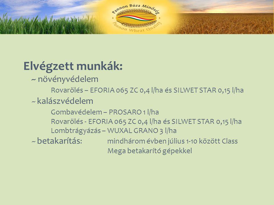 Elvégzett munkák: ~ növényvédelem Rovarölés – EFORIA 065 ZC 0,4 l/ha és SILWET STAR 0,15 l/ha ~ kalászvédelem Gombavédelem – PROSARO 1 l/ha Rovarölés - EFORIA 065 ZC 0,4 l/ha és SILWET STAR 0,15 l/ha Lombtrágyázás – WUXAL GRANO 3 l/ha ~ betakarítás : mindhárom évben július 1-10 között Class Mega betakarító gépekkel