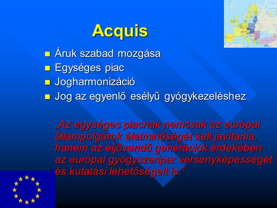 """Acquis Áruk szabad mozgása Áruk szabad mozgása Egységes piac Egységes piac Jogharmonizáció Jogharmonizáció Jog az egyenlő esélyű gyógykezeléshez Jog az egyenlő esélyű gyógykezeléshez """"Az egységes piacnak nemcsak az európai állampolgárok életminőségét kell javítania, hanem az eljövendő generációk érdekében az európai gyógyszeripar versenyképességét és kutatási lehetőségeit is."""