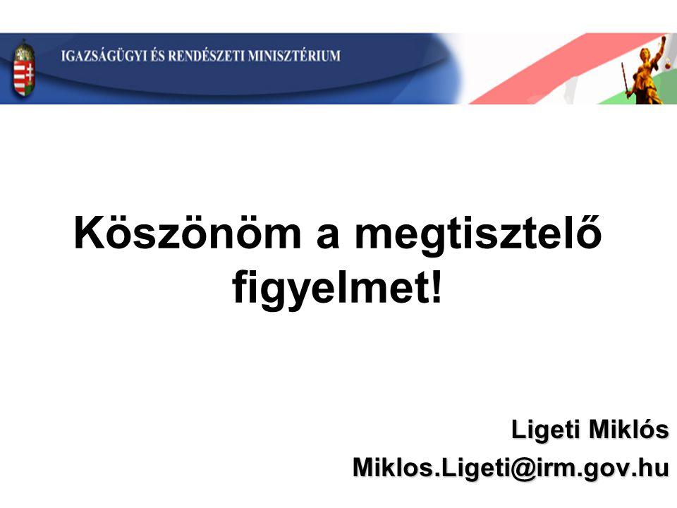 Ligeti Miklós Miklos.Ligeti@irm.gov.hu Köszönöm a megtisztelő figyelmet!