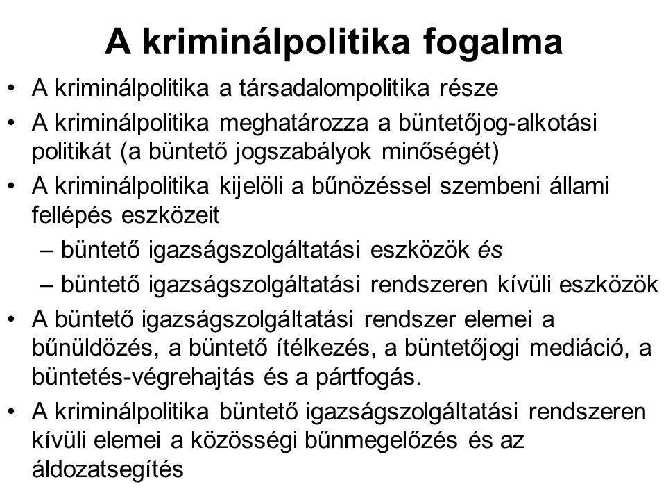 A kriminálpolitika fogalma A kriminálpolitika a társadalompolitika része A kriminálpolitika meghatározza a büntetőjog-alkotási politikát (a büntető jo