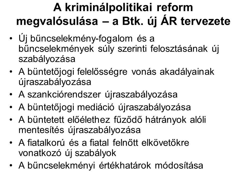 A kriminálpolitikai reform megvalósulása – a Btk. új ÁR tervezete Új bűncselekmény-fogalom és a bűncselekmények súly szerinti felosztásának új szabály