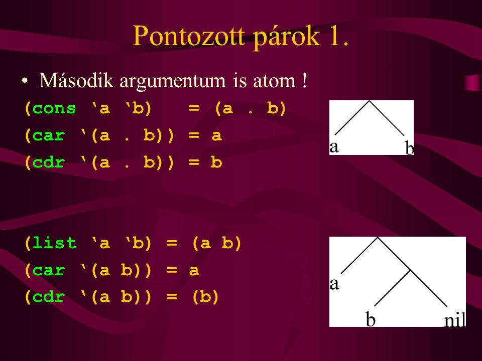 Pontozott párok 1. Második argumentum is atom . (cons 'a 'b) = (a.