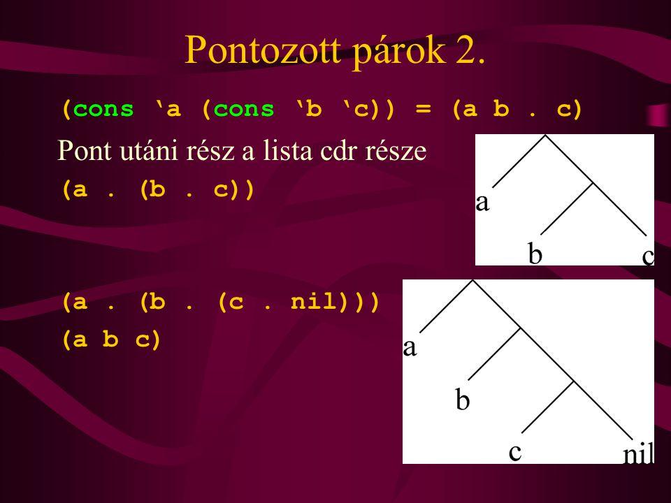 Pontozott párok 2. (cons 'a (cons 'b 'c)) = (a b.