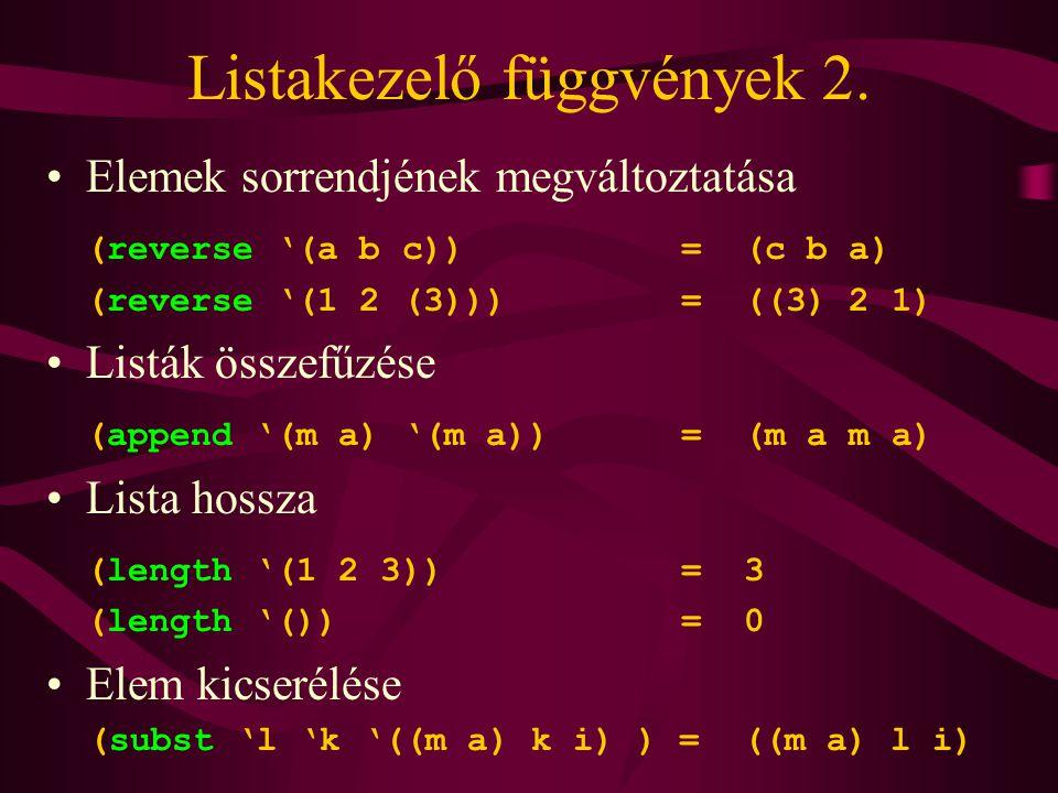 Listakezelő függvények 2.