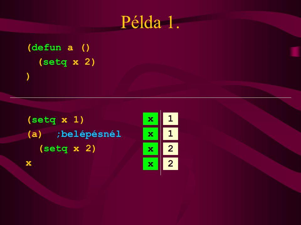 Példa 1. (defun a () (setq x 2) ) (setq x 1) (a) ;belépésnél (setq x 2) x x1 x1 x2 x2