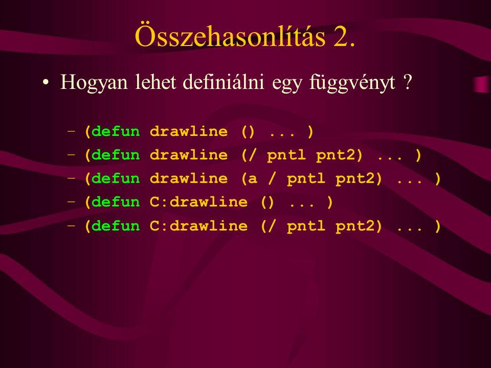 Összehasonlítás 2. Hogyan lehet definiálni egy függvényt .