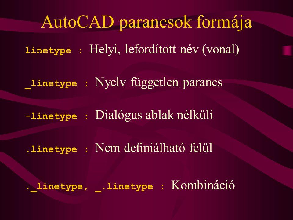 AutoCAD parancsok formája linetype : Helyi, lefordított név (vonal) _linetype : Nyelv független parancs -linetype : Dialógus ablak nélküli.linetype : Nem definiálható felül._linetype, _.linetype : Kombináció