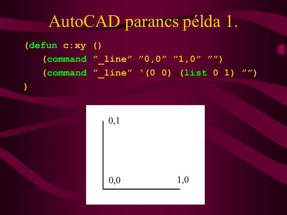 AutoCAD parancs példa 1.