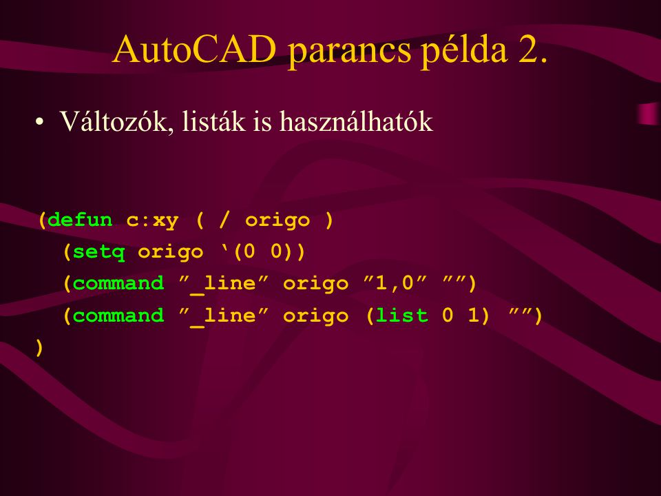 AutoCAD parancs példa 2.