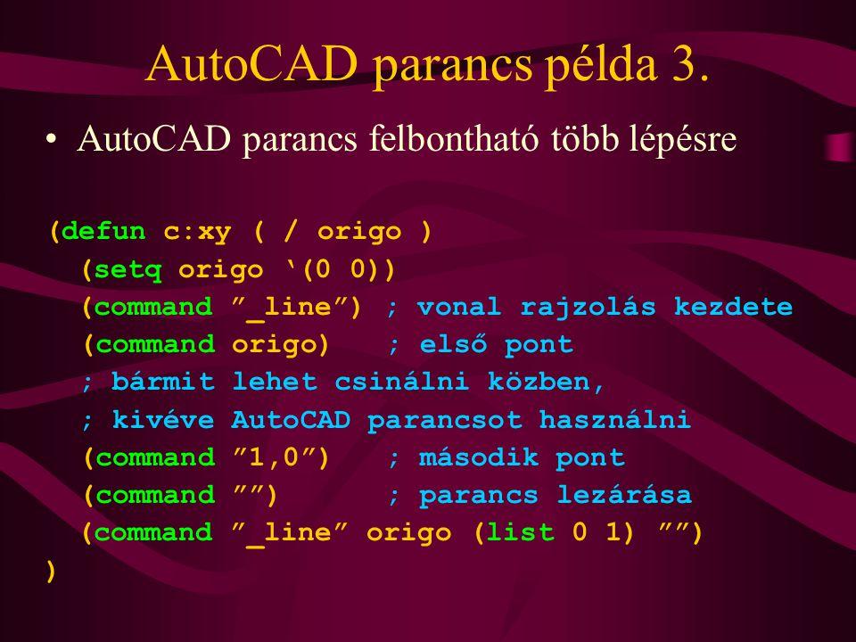 AutoCAD parancs példa 3.