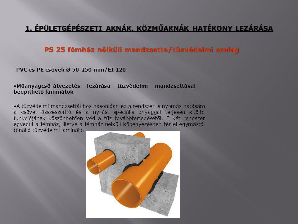 PS 25 fémház nélküli mandzsetta/tűzvédelmi szalag Műanyagcső-átvezetés lezárása tűzvédelmi mandzsettával - beépíthető laminátok A tűzvédelmi mandzsett