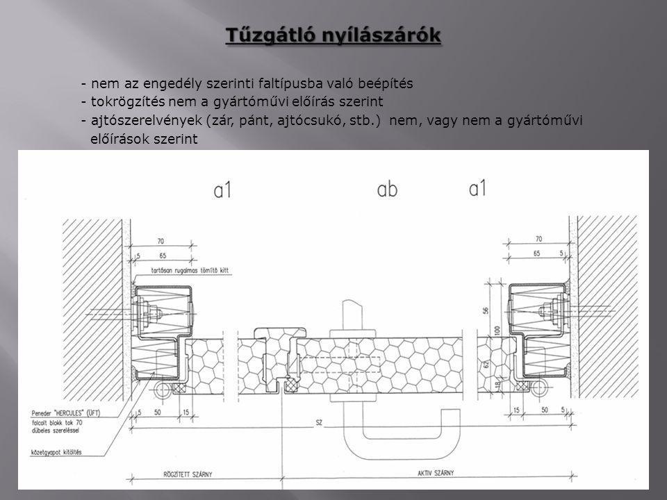- nem az engedély szerinti faltípusba való beépítés - tokrögzítés nem a gyártóművi előírás szerint - ajtószerelvények (zár, pánt, ajtócsukó, stb.) nem