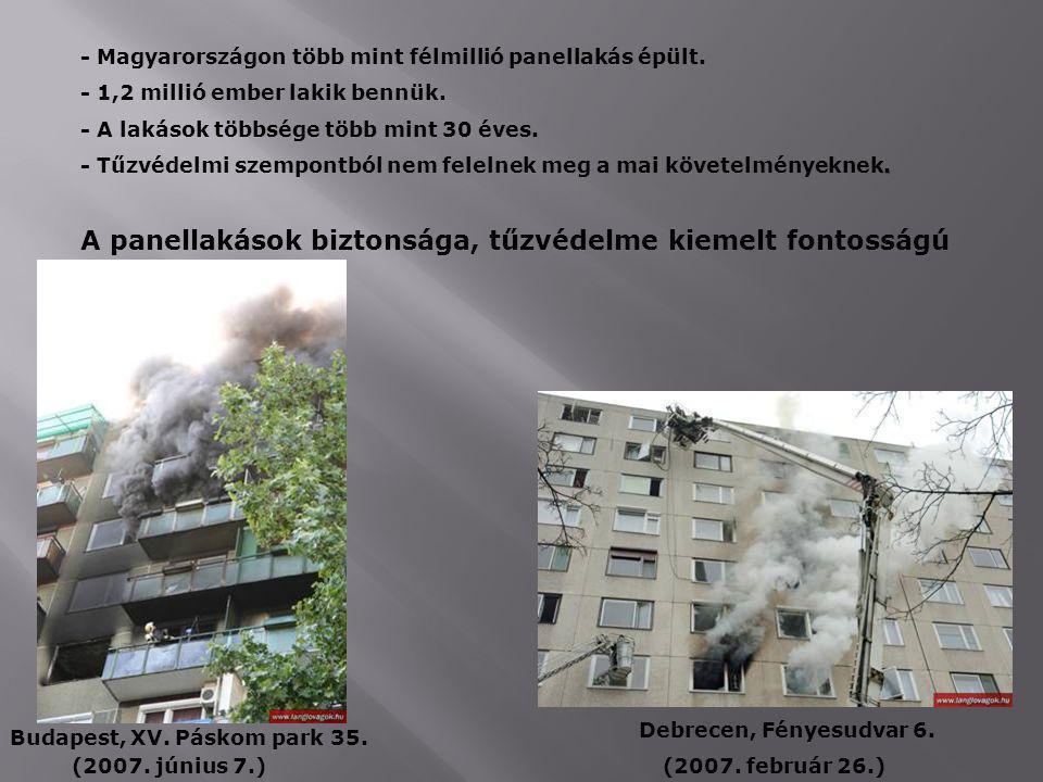 - Magyarországon több mint félmillió panellakás épült. - 1,2 millió ember lakik bennük. - A lakások többsége több mint 30 éves.. - Tűzvédelmi szempont