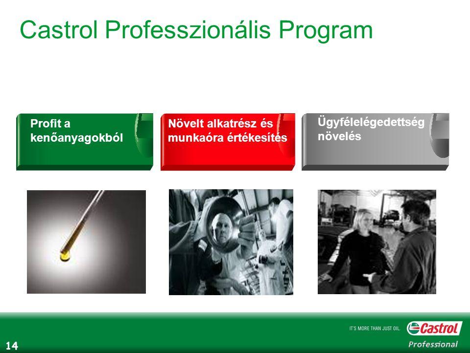 14 Castrol Professzionális Program Növelt alkatrész és munkaóra értékesítés Profit a kenőanyagokból Ügyfélelégedettség növelés