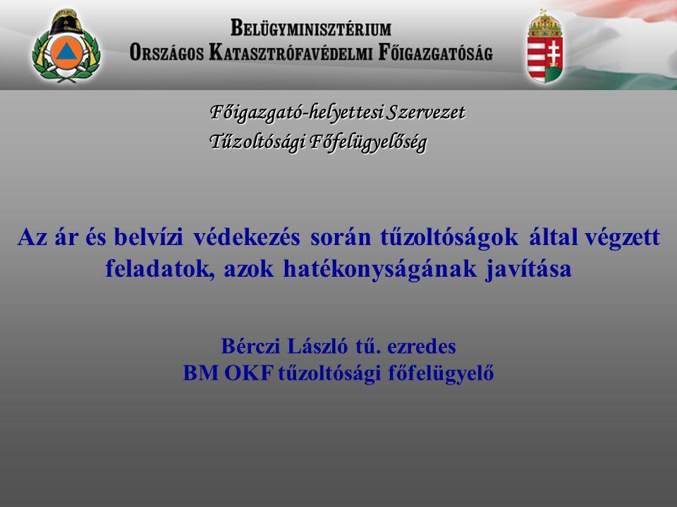 Bérczi László tű. ezredes BM OKF tűzoltósági főfelügyelő Főigazgató-helyettesi Szervezet Tűzoltósági Főfelügyelőség Az ár és belvízi védekezés során t