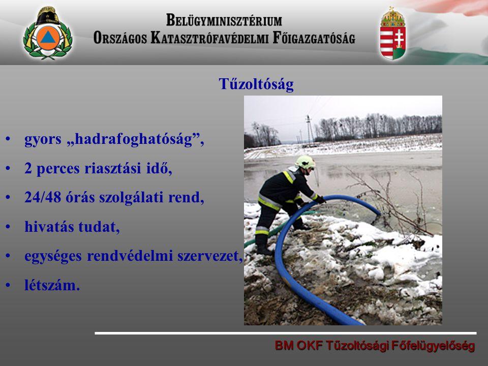 """BM OKF Tűzoltósági Főfelügyelőség Tűzoltóság gyors """"hadrafoghatóság"""", 2 perces riasztási idő, 24/48 órás szolgálati rend, hivatás tudat, egységes rend"""