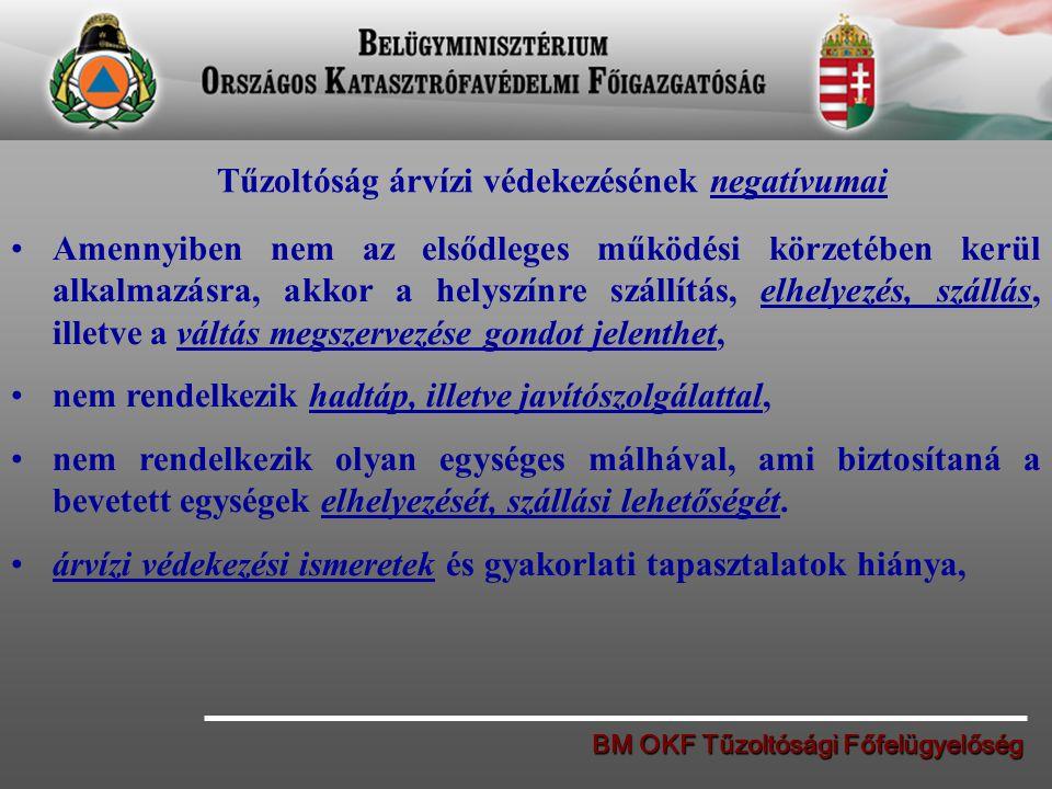 BM OKF Tűzoltósági Főfelügyelőség Tűzoltóság árvízi védekezésének negatívumai Amennyiben nem az elsődleges működési körzetében kerül alkalmazásra, akk