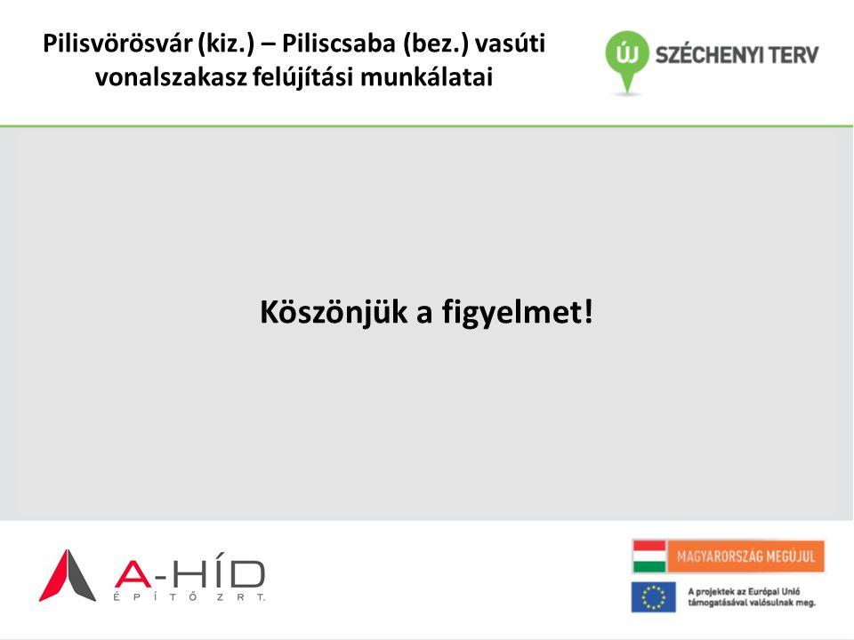 Pilisvörösvár (kiz.) – Piliscsaba (bez.) vasúti vonalszakasz felújítási munkálatai Köszönjük a figyelmet!