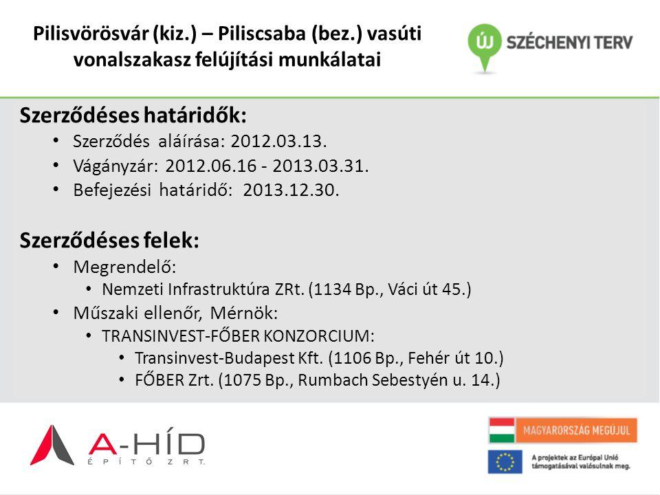 Pilisvörösvár (kiz.) – Piliscsaba (bez.) vasúti vonalszakasz felújítási munkálatai Szerződéses határidők: Szerződés aláírása: 2012.03.13. Vágányzár: 2